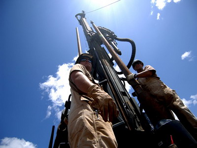 080421-F-1644L-077        U.S. Navy Equipment Operators Petty Officers 1st Class Aaron Nagel and Steven Barczak, both Seabees from Naval Mobile Construction Battalion 74, Combined Joint Task Force - Horn of Africa, assemble a rig during a well drilling project in Shaba, Kenya, on April 21, 2008.  The well drilling project was the first of three Seabees conducted in the area.  DoD photo by Tech. Sgt. Jeremy T. Lock, U.S. Air Force.  (Released)